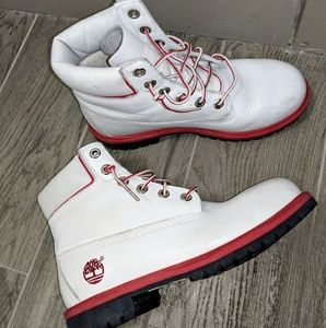 White Timberland Leather Boots